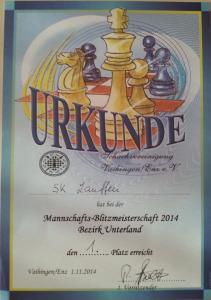 1. Platz Bezirksblitz-Mannschaftsmeisterschaften 2014